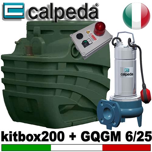Impianto di sollevamento per fognature KITBOX 200 - Pompa trituratrice CALPEDA GQGM 6.25 - accessori