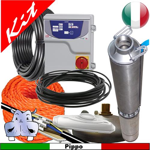 Impianto di sollevamento acqua per pozzo con pompe sommerse 4GS07 - 1,00 HP monofase e linea ...