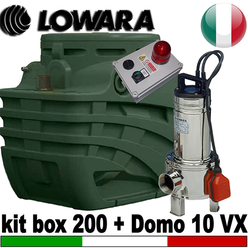 Impianto di sollevamento per fognature KIT BOX 200 - Pompa Lowara DOMO 10 VX - accessori