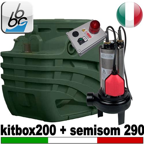 Impianto di sollevamento per fognature FEKABOX 200 - Pompa BBC SEMISOM 290 - accessori