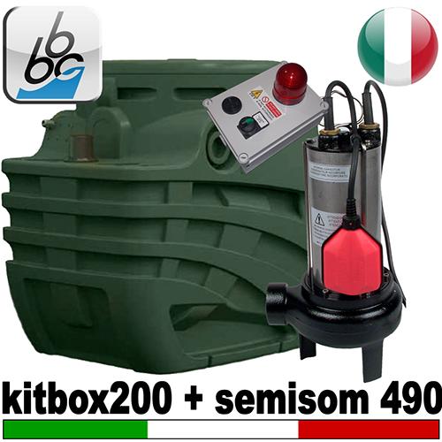 Impianto di sollevamento per fognature FEKABOX 200 - Pompa  BBC SEMISOM 490 - accessori