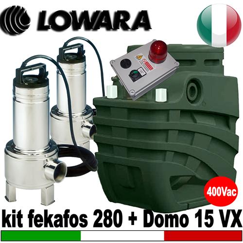 Impianto di sollevamento per fognature kitbox double 280 for Pompe sommerse per acquari