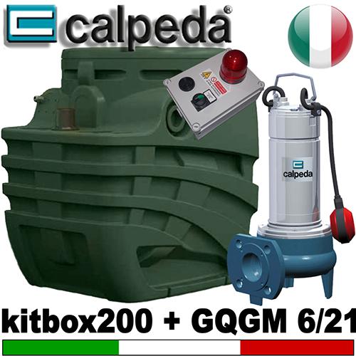Impianto di sollevamento per fognature KITBOX 200 - Pompa trituratrice CALPEDA GQGM 6.21 - accessori