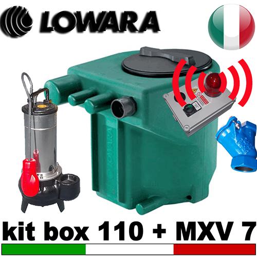 Impianto di sollevamento per fognature KIT MIDIBOX 110 - completo di pompa Caprari MXV7 - accessori