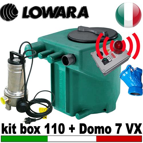 Impianto di sollevamento per fognature KIT MIDIBOX 110 - completo di pompa Lowara DOMO 7 VX - accessori