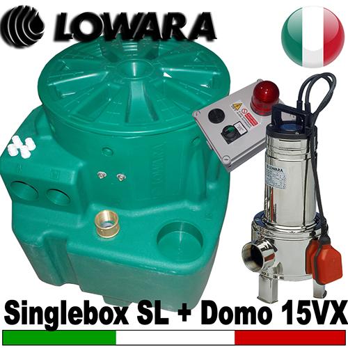 Impianto di sollevamento per fognature Lowara Singlebox 270 - 1 Pompa sommersa Lowara DOMO15VX - KIT SLITTA accessori (Alimentazione monofase)